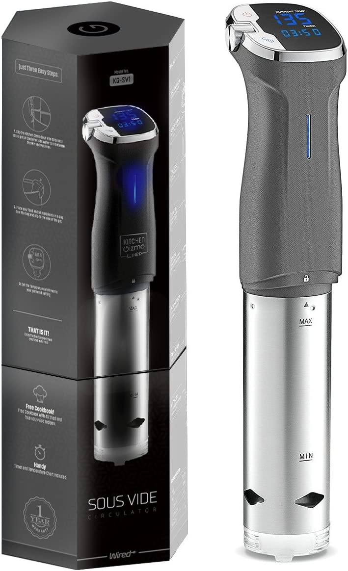 Kitchen Gizmo Sous Vide Immersion Circulator - Cook with Precision, 800 Watt Grey Circulator Stick with Touchscreen Control Panel and Safety Feature - Bonus Recipe Book Included