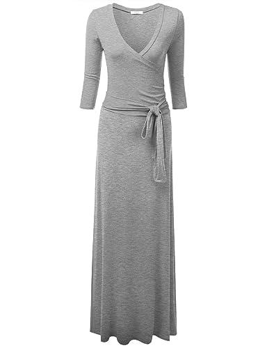 NINEXIS Women's V-Neck 3/4 Sleeve Waist Wrap Front Maxi Dress
