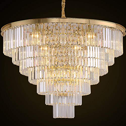 MEELIGHTING Gold Plated Crystal Chandelier Lighting Modern Contemporary Empress Chandeliers Pendant Ceiling Lamp Light Fixture 7-Tier for Duplex House Dining Room Living Room Hotel 24 Lights W39.4