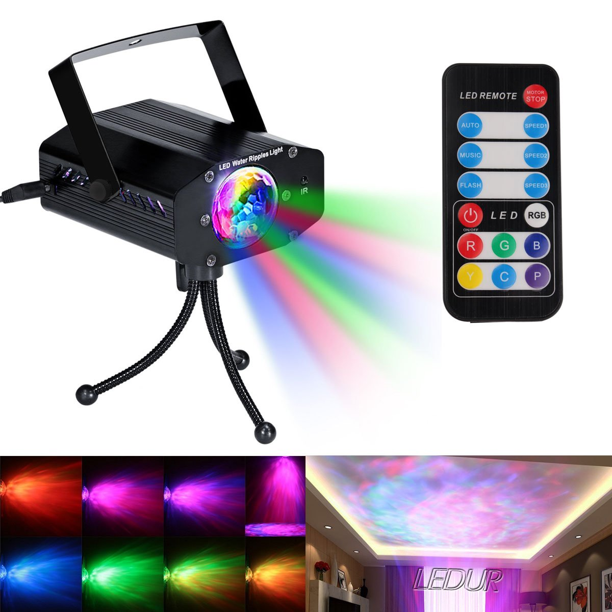 LEDUR Water Ripples lights Projector, Sound Activated Party Lights LED Stage Lights Strobe Light Disco DJ Clubs Bar Party Lights 7 Colors with Remote Control (Full color- 3) by LEDUR