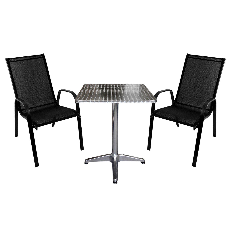 3tlg. Bistrogarnitur Gartenmöbel Set Aluminium Klapptisch 60x60cm + 2x Stapelstuhl mit Textilenbespannung - schwarz / Gartengarnitur Terrassenmöbel Balkonmöbel Sitzgarnitur Sitzgruppe