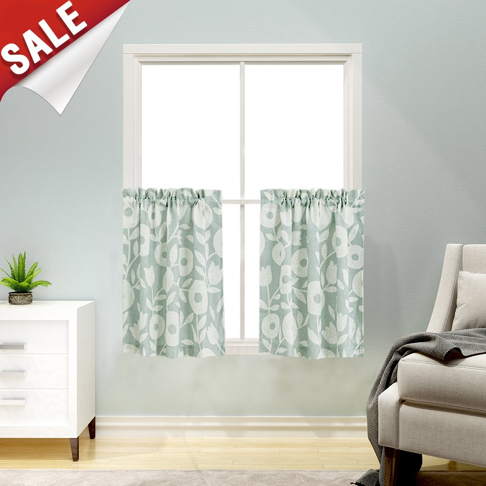 Floral Printed Tier Kitchen Curtains, Linen Look Short Curtains for Bathroom Rod Pocket Rustic Window Treatments (2 Panels, 36-Inch, Sage and White)