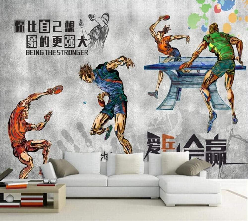 WGBHQ Papel Tapiz Autoadhesivo 3D Pegatina - Tenis De Mesa Gris Gym Gym Club Familia Sala De Estar Dormitorio Oficina Decoración De La Habitación De Los Niños Fondo Mural De Pared (W)300x(H)210cm