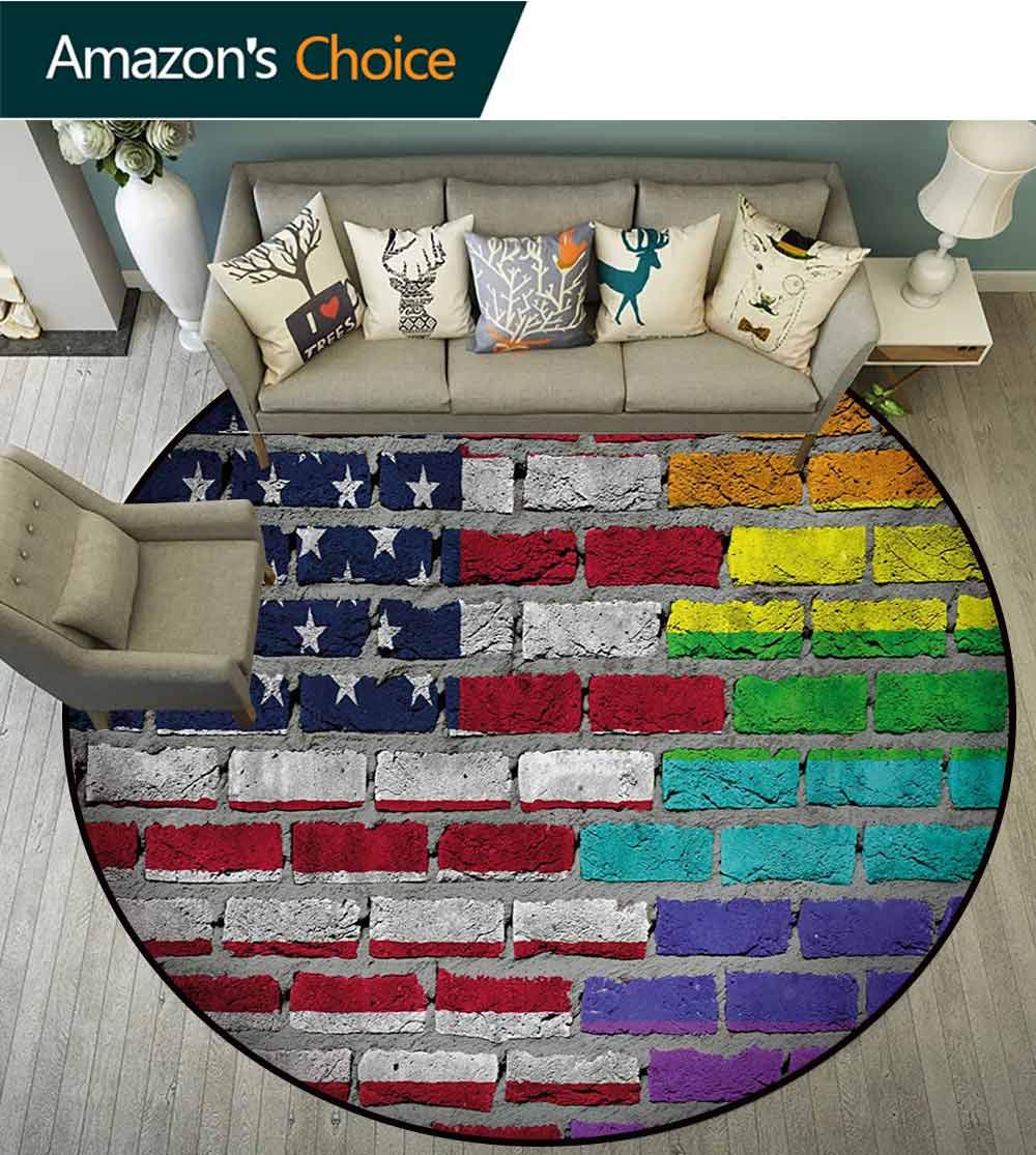 RUGSMAT Pride Dining Room Home Bedroom Carpet Floor Mat,Grunge Dark Brick Wall Background with American and Rainbow Flag Painted Together Non Slip Rug,Diameter-71 Inch Multicolor
