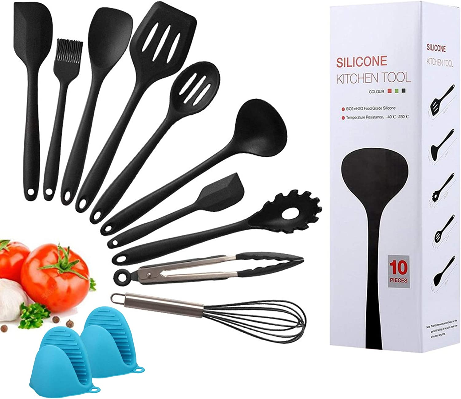 Kitchen Silicone Heat Resistant Cooking Utensil Set 12 Piece,Food Clip Grill Brush Soup Spoon Whisk Scraper Shovel Egg Blender Non Stick Tools Set Environmental Protection Oven Mitts…