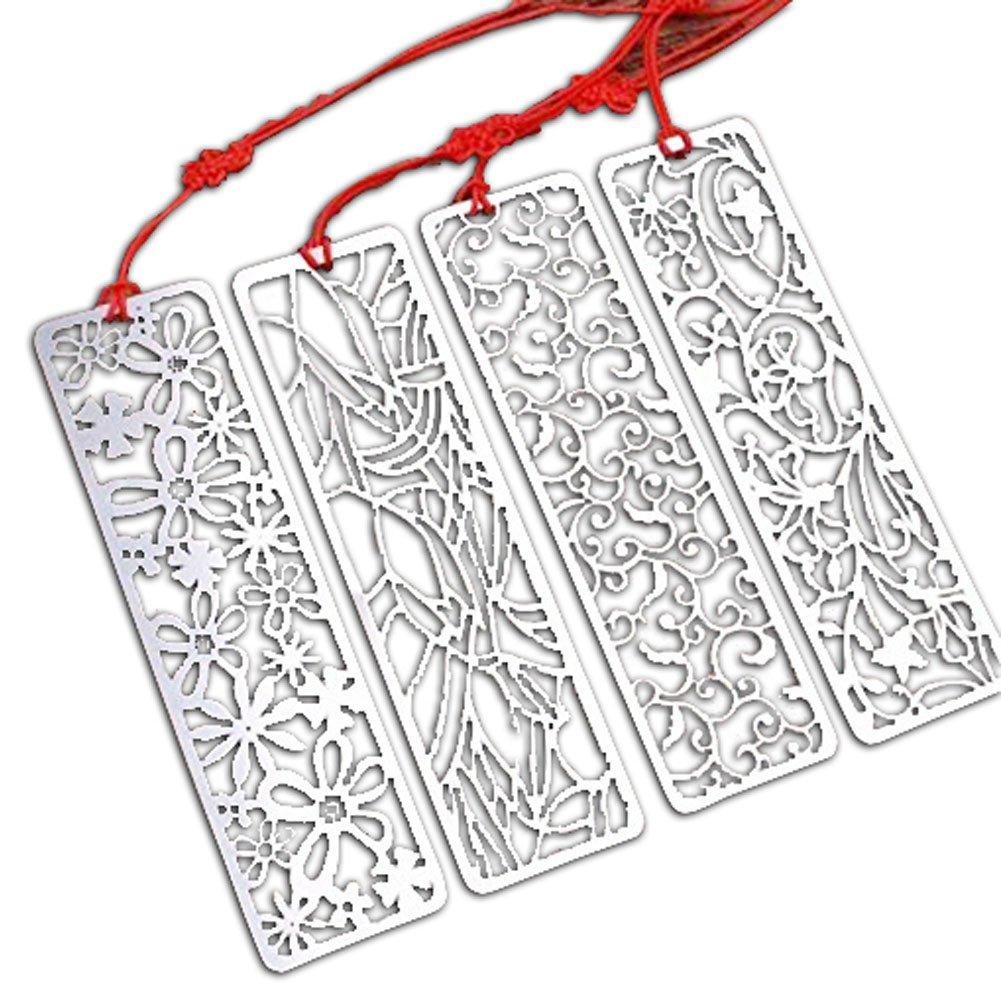 Acero inoxidable Señal Hollow Flower Series Creative estilo chino Hermosa señal de papelería / Regalos - Juego de 4