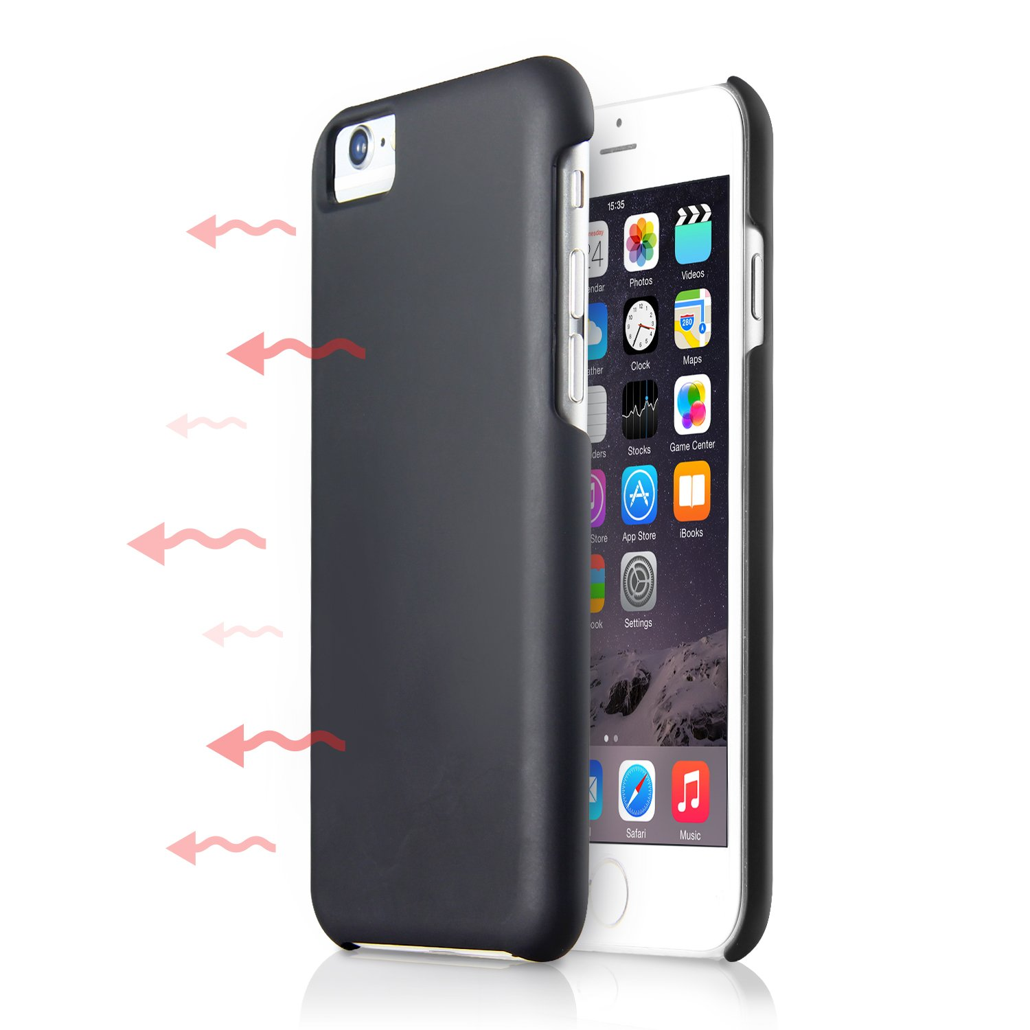 iPhone 8 Case W/Cooling Function, A Cell Phone Case W/Heat Absorption Technology to Prolong Lifetime of the Battery, PC Phone Cover for iPhone 7, iPhone 6, iPhone 6s, Black