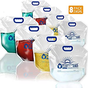 WaterStorageCube Premium Collapsible Water Container Bag, BPA Free Food Grade Clear Plastic Storage Jug for Camping Hiking Backpack Emergency, No-Leak Freezable Foldable Water Bottle 2.6 Gallon 8-Pack