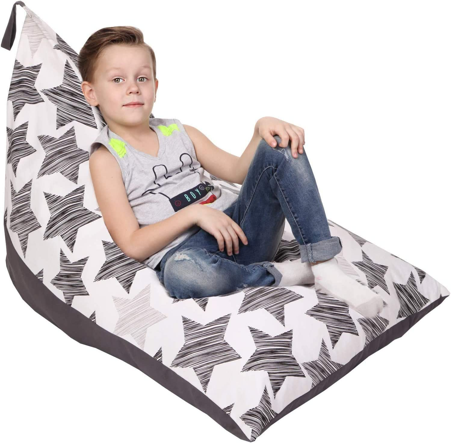 Home Soft Lazy Sofa Unfilled Bean Bag Chair Cover for Kids Teens Adults Cartoon Animal Print Large Bean Bag Stuffed Animal Doll Storage Solution Bago