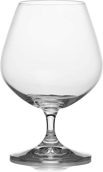Juego de 6 vasos de cristal para brandy y coñac, elegantes y duraderos, aptos para whisky, brandy, duraderos y completamente sin plomo, 400 mililitros