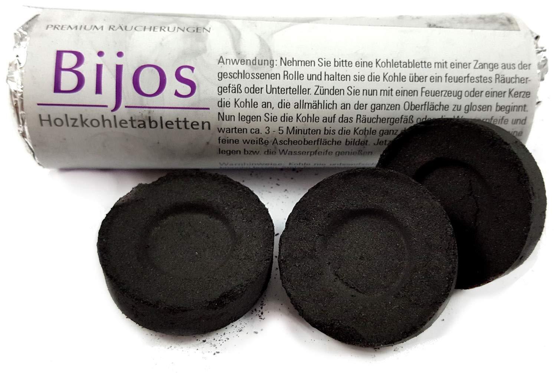 Accessorio per incenso: carbonelle autocombustibili di ottima qualità, a combustione rapida, Ø 33 mm Ø 33 mm Bijos
