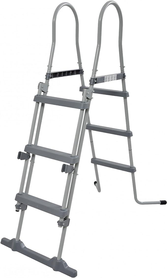 Jilong - Accesorios de Piscina, Escalera con Dispositivo Seguridad,109 cm, Gris, 78 x 40 x 36 cm: Amazon.es: Jardín