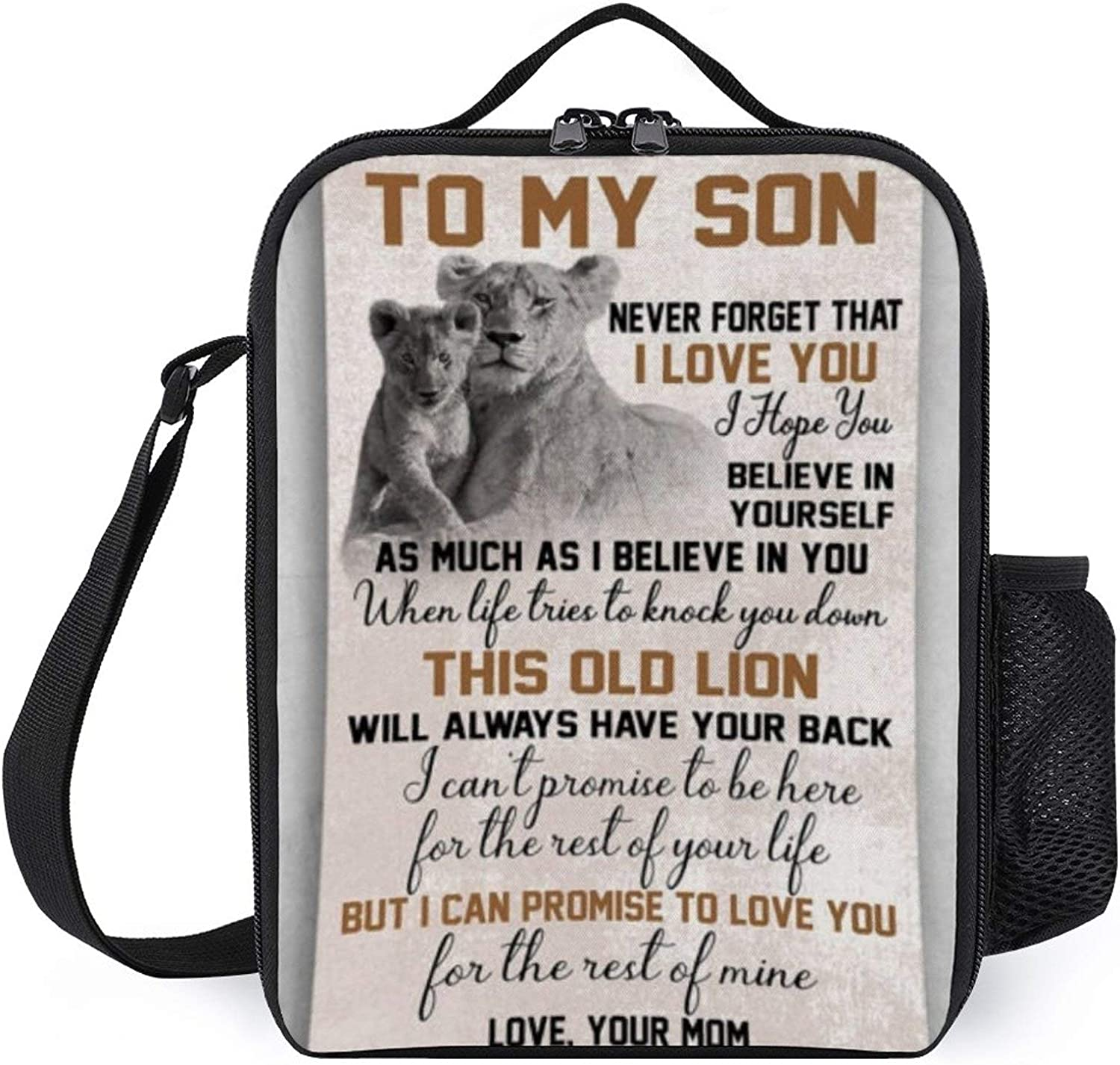 Portable Thermal Insulated Picnic Lunch Bag,Mama Lion And Her Beautiful Baby Never Forget That I Love You Love Your Mom Food Handbag Lunch Box With Shoulder Strap For Hot Or Cold Groceries