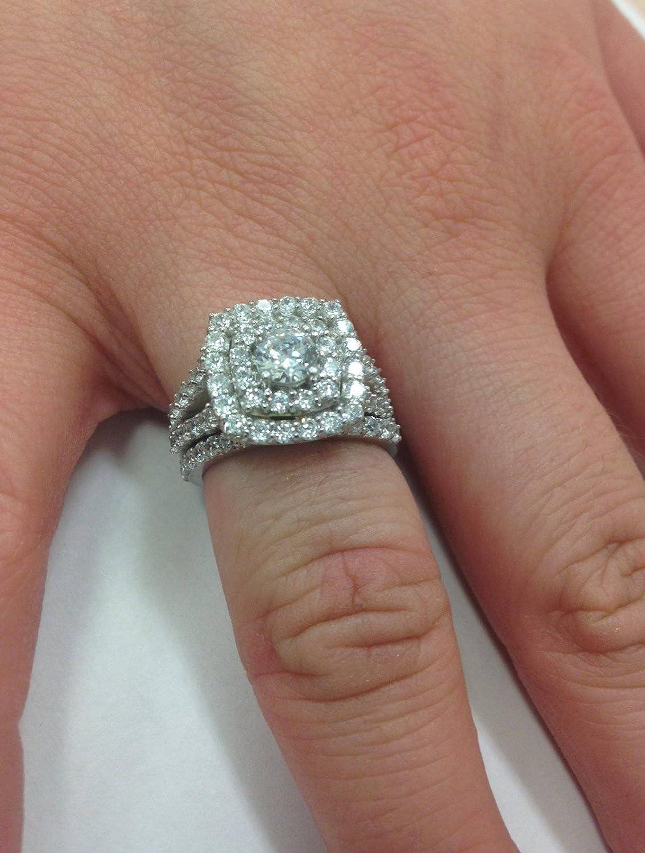 2 cttw Diamond Cushion Double Halo Engagement Wedding Ring Set 10k ...
