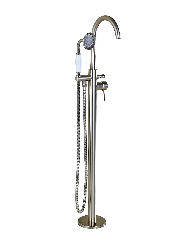 Rozin Brushed Nickel Floor Standing Bathtub Faucet Mixer Tap with Handheld Shower delicate
