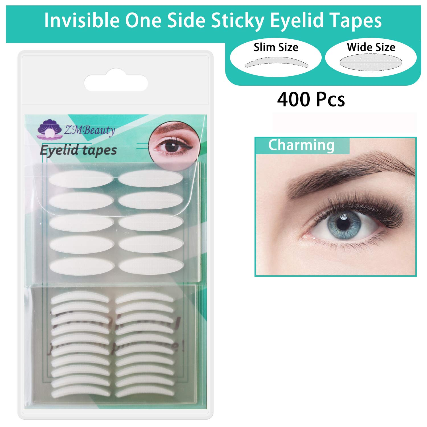 400Pcs Natural invisible Single Side Eyelid Tape Stickers Medical-use Fiber Eyelid Lift Strip, Instant Eye Lift Without Surgery, Perfect for Uneven Mono-Eyelids, 100 Pairs Slim + 100 Pairs Wide