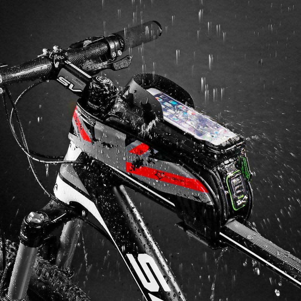 ROCKBROS Bolsa de Bicicleta Cuadro Impermeable para Manillar Tubo Superior Delantero Soporte del Tel/éfono M/óvil con Pantalla T/áctil 5,8 y 6,0