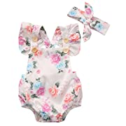 Canis Baby Girls' Full Flower Print Buttons Ruffles Romper Bodysuit with Headband (90(6-12M), White)