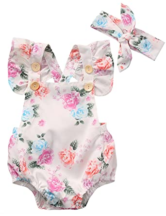 7f700f499171 Amazon.com  Canis Baby Girls  Full Flower Print Buttons Ruffles ...