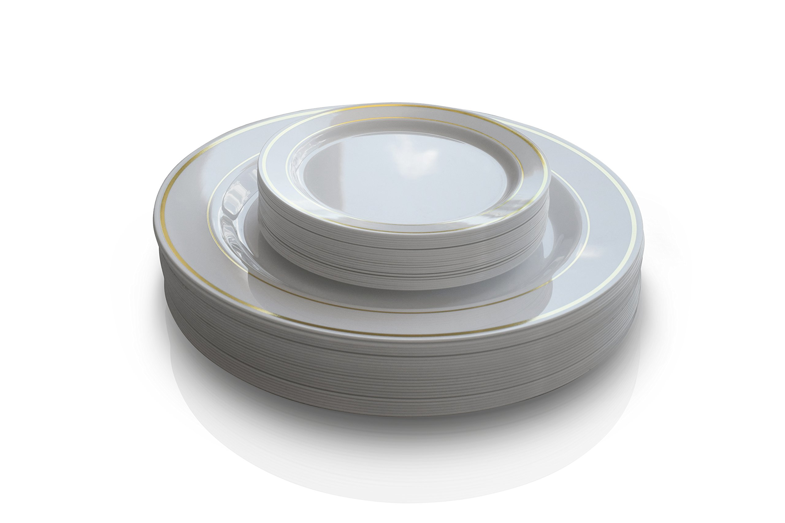 ''OCCASIONS'' 240 Pack, Premium Disposable Plastic plates, 120 x 10.5'' Dinner + 120 x 6'' Cake plates (White with Gold Rim)