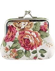 AIMEE7 Mujer Señora Vintage Flor Pequeña Cartera Mini Bolsa Cuello Cinturón
