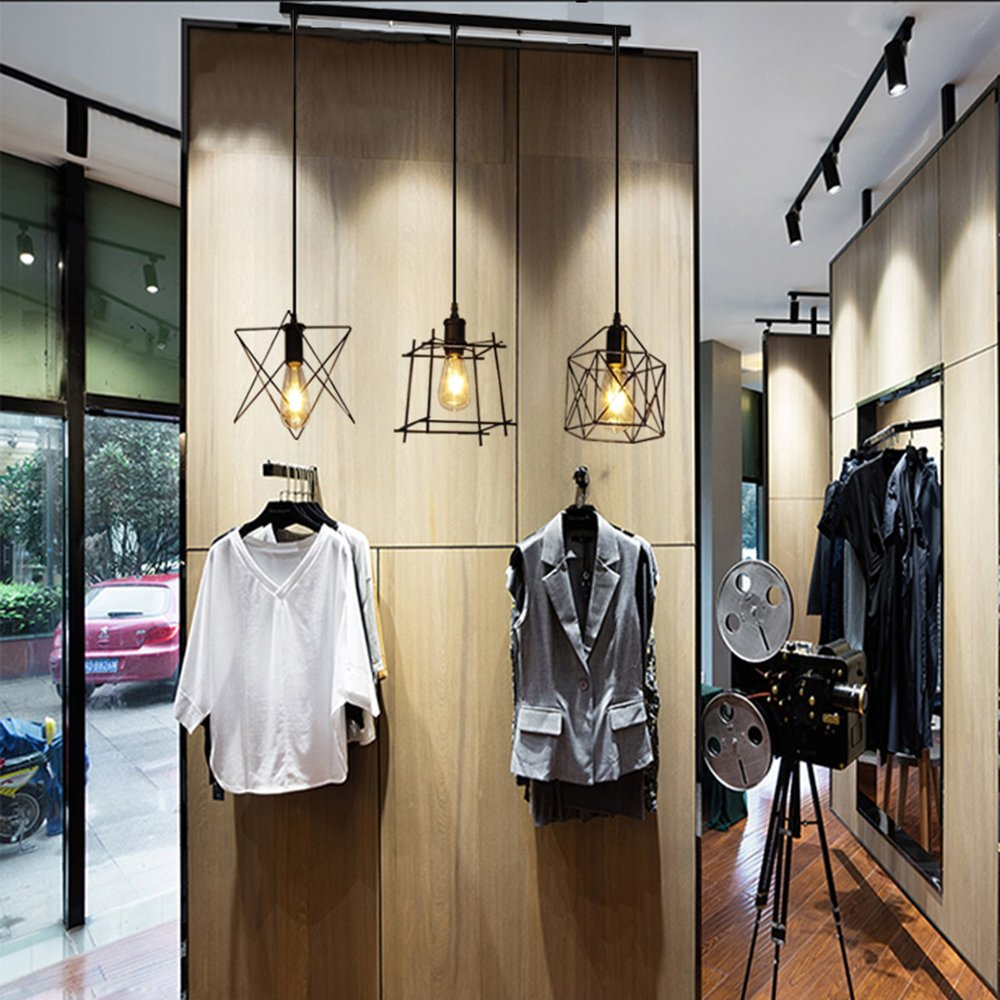 NIUYAO Antique Metal Cage Pendant Lighting Chandelier Rustic Kitchen Linear Island Light 3 Lights by NIUYAO (Image #8)