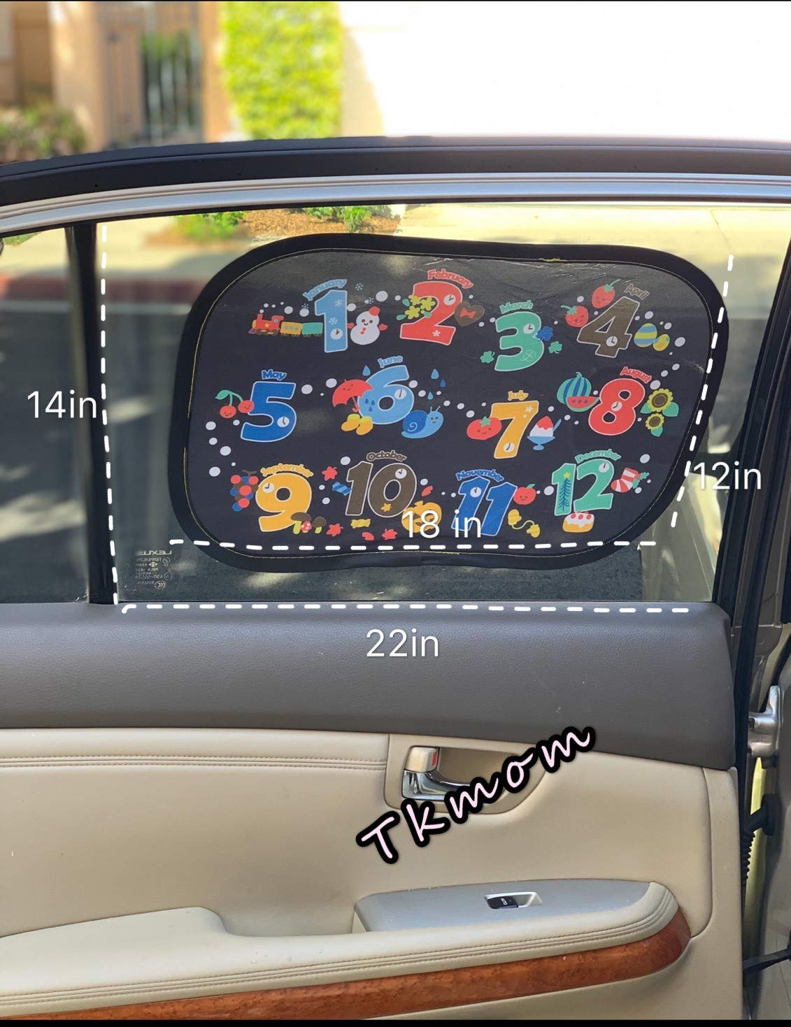 Pack of 2 Auto Static Cling Sun Shades Protector to Block Damaging UV Rays /& Bright Sunlight /& Heat,Best Auto Accessories for Kids German Letter /& Number TKmom Car Window Shades for Baby