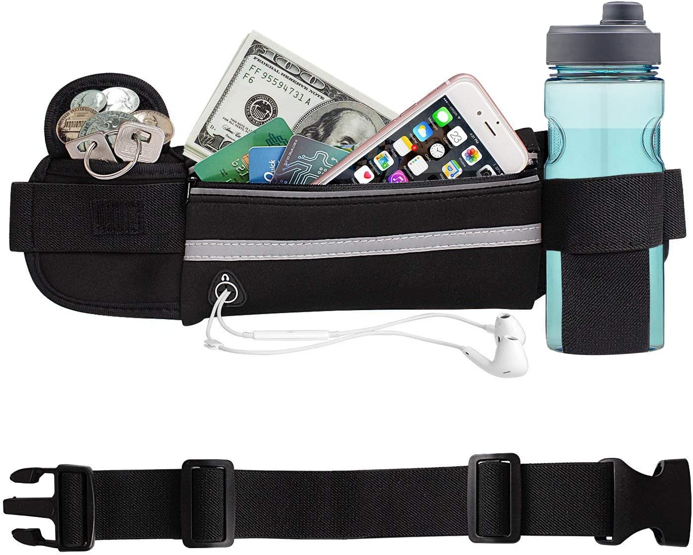 Aolerx Running Belt, Sweatproof and Waterproof, Sports Fanny Pack with Water Bottle Holder, Machine Washable,Can Hold Cash Keys Cards Phone Below 6.5