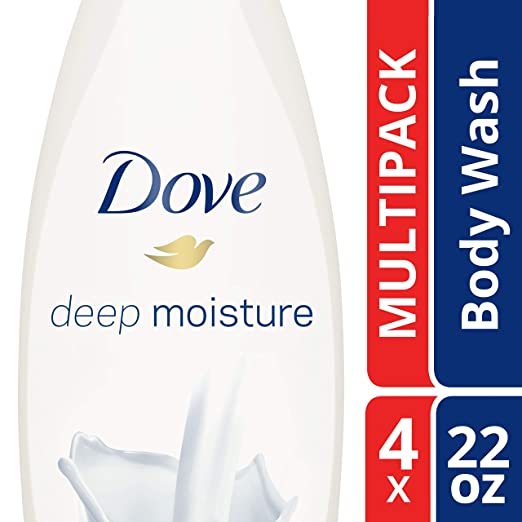 Dove Deep Moisture Body Wash, 22 Fl Oz, Pack of 4