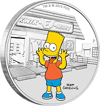 2019 Tuvalu THE SIMPSON/'S HOMER Colorized 1oz .999 Proof Silver Coin Box /& COA