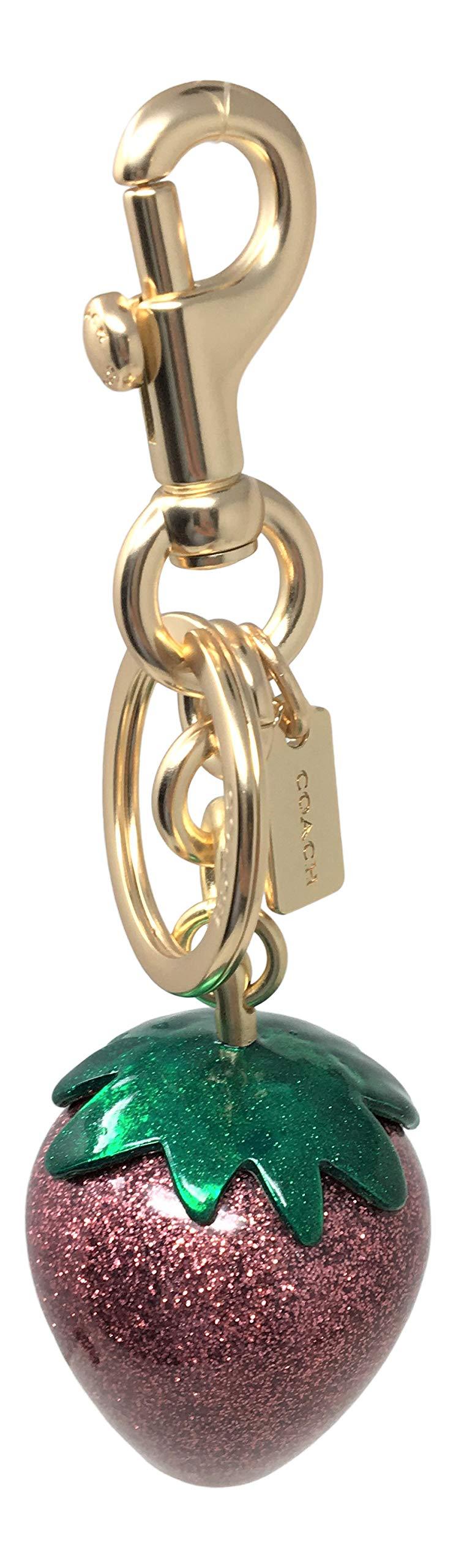Coach Strawberry Bag Charm Key Chain Pink Gold F68418