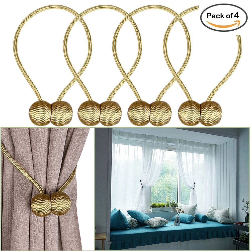 ApisNest Magnetic Curtain Tiebacks Clips Classic European Window Treatment Holdbacks Home Office Decorative Drapes Holders Buckle With Strong Magnetic For Home Décor Tie Band Clasp (Gold)