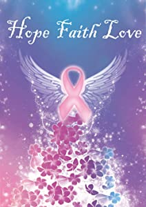 Toland Home Garden Hope Faith Love 12.5 x 18 Inch Decorative Pink Breast Cancer Ribbon Support Awareness Garden Flag