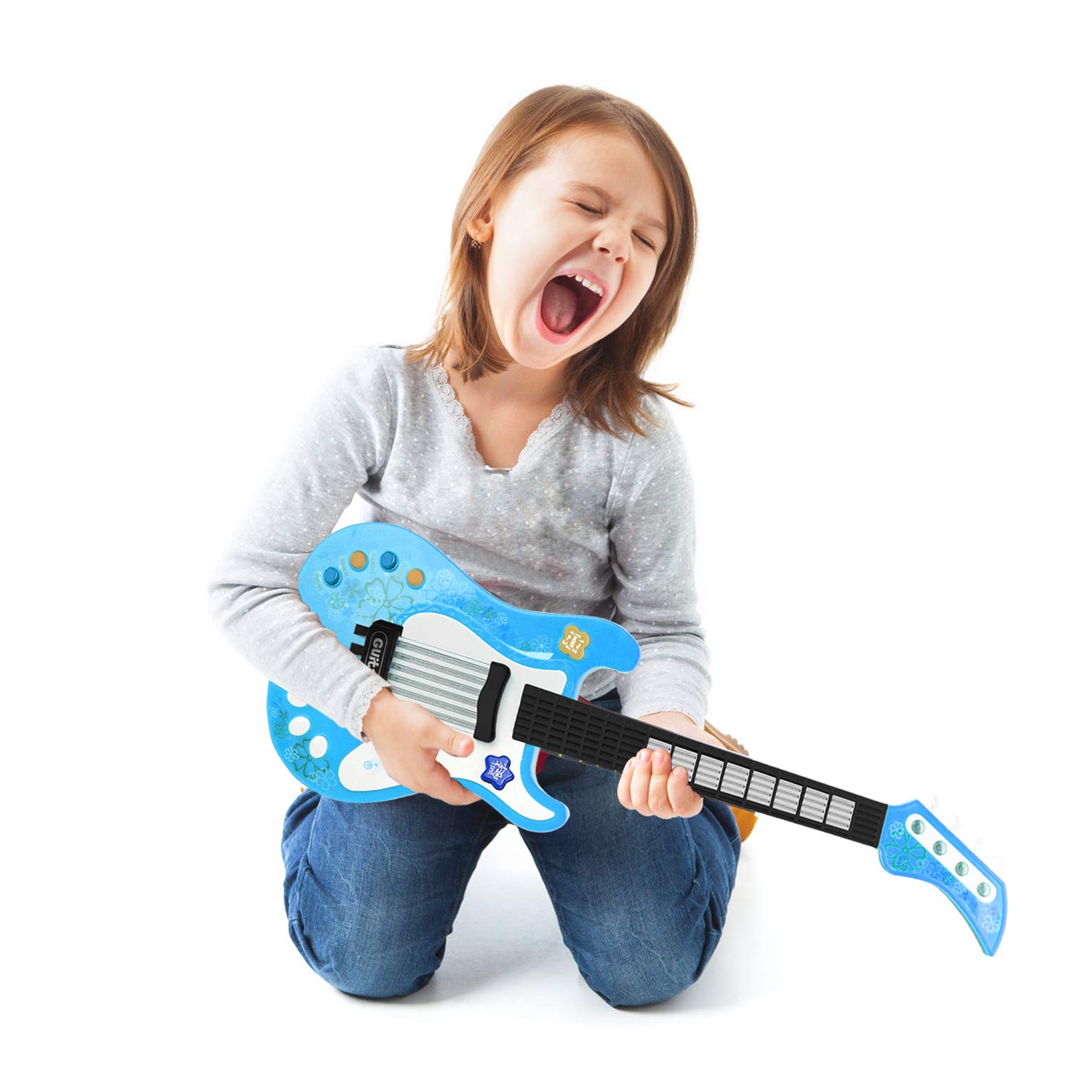 Toys & Games SANLINKEE Toy Guitar for Kids Musical Electric Guitar Toys Kids Guitar with Vibrant Sounds Music Toy for Kids Great for Boys Girls Guitars & Strings