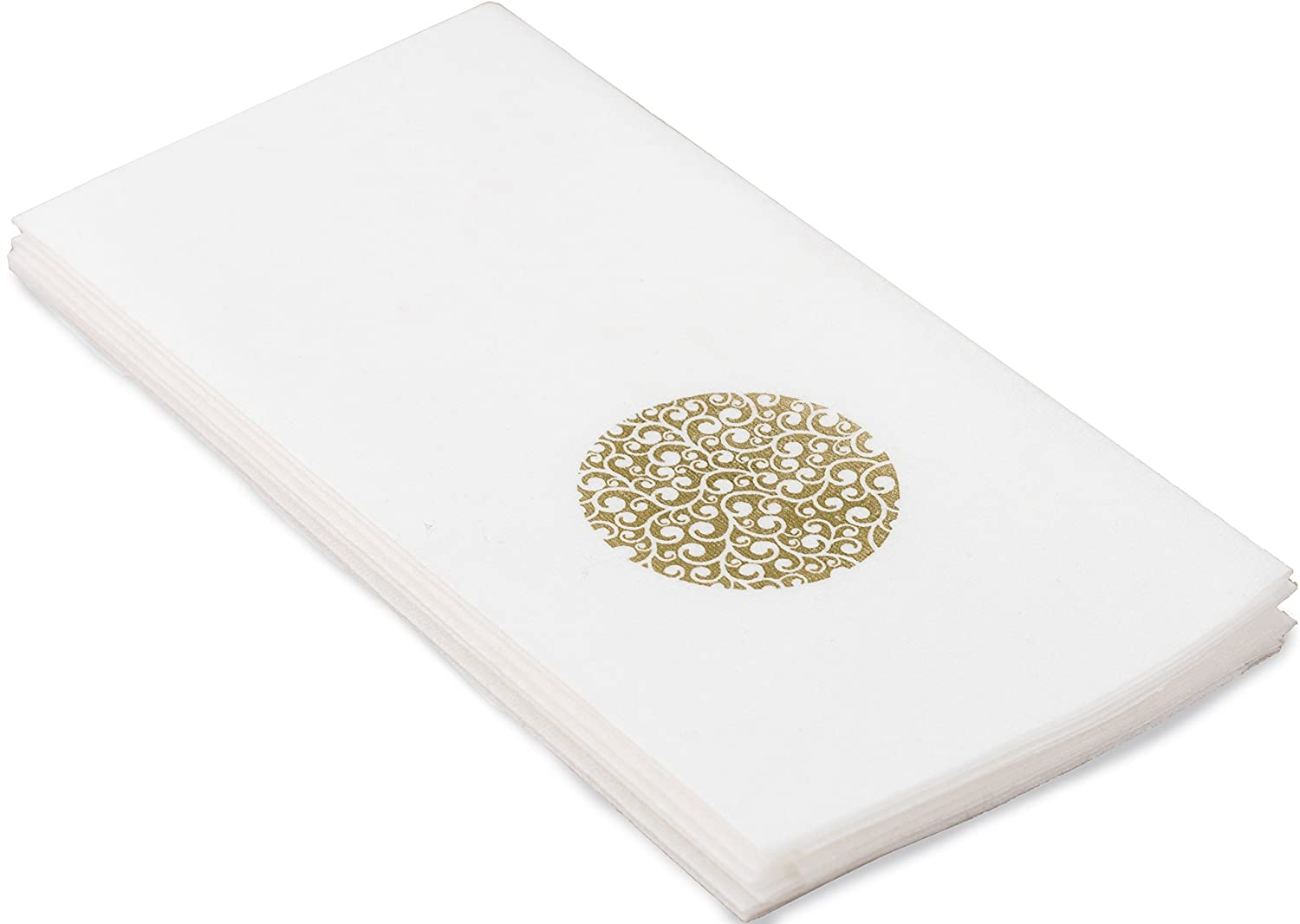 Echo Beach Cloth-Like Guest Towels Napkins, White with Decorative Gold Circle, 1/6 Fold, 17 Inch by 12 Inch, 100 Units Per Pack Plus e-newsletter Echo Beach Products