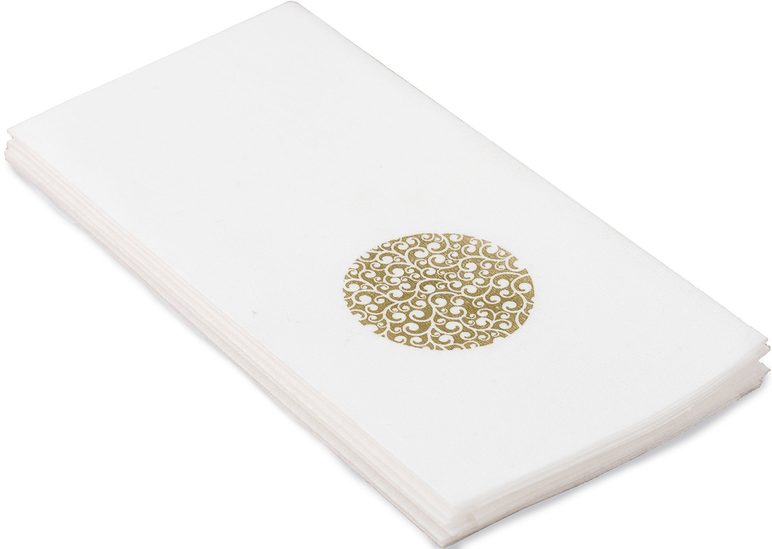 Echo Beach Cloth-Like Guest Towels Napkins, White with Decorative Gold Circle, 1/6 Fold, 17 Inch by 12 Inch, 100 Units Per Pack Plus e-newsletter
