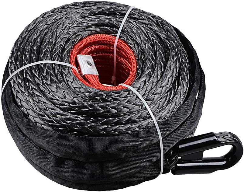 Astra Depot Durable UHMWPE SK75 Synthetic Winch Rope Cable 22,000LBs with Protective Sleeve 1//2 x 92ft
