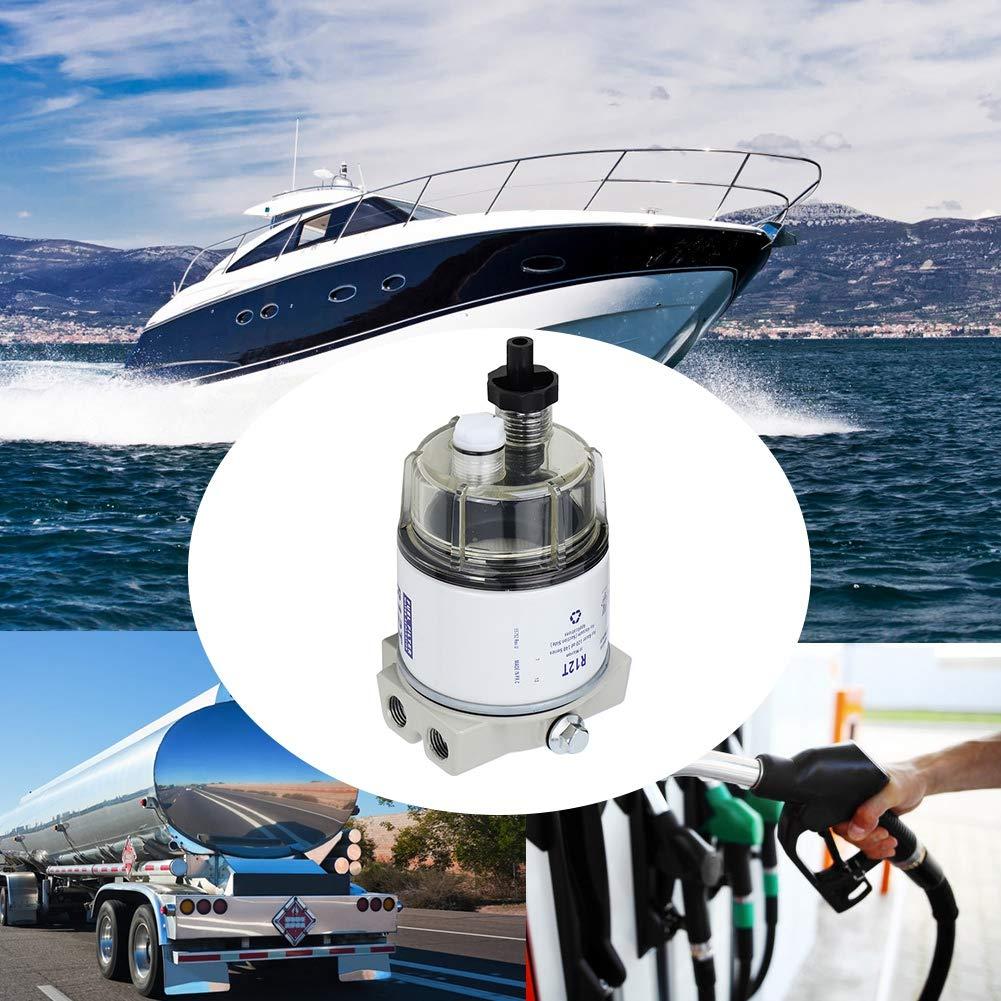 Suuonee Filtro carburante R12T Rotazione marina per barche Filtro carburante Separatore dacqua Adatto per motoscafo