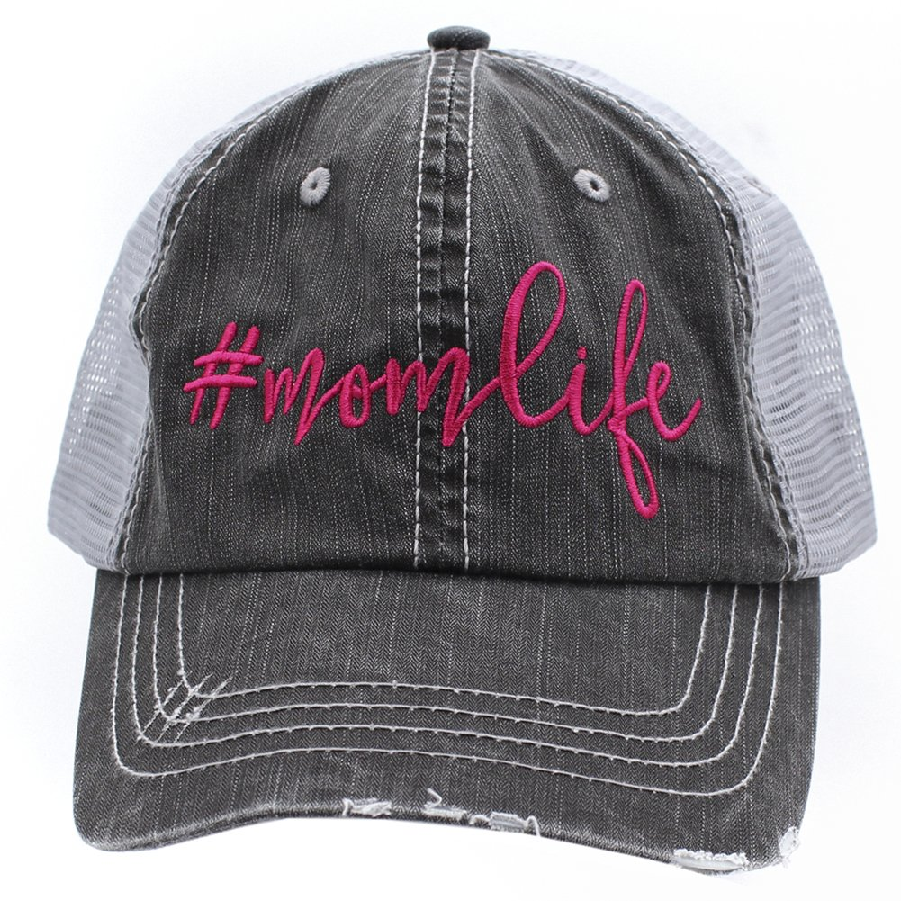 Mom Life Embroidered Trucker Style baseball Cap Hat (HotPink/Emb)