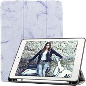 Billionn Smart Case for iPad Pad Mini 5th Generation 2019 / iPad Mini 4 with Apple Pencil Holder Trifold Stand Auto Sleep/Wake [Ultra-Thin] [Ultra-Light], Marble Purple