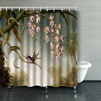 Family Unique Decorative Custom Xmas Shower Curtains Spray Orchids With  Hummingbird Waterproof Polyester Fabric Home Decor