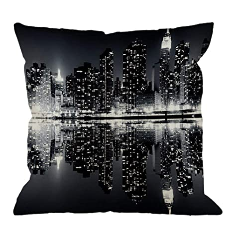 funny cat Funda de Almohada Throw New York Night City ...