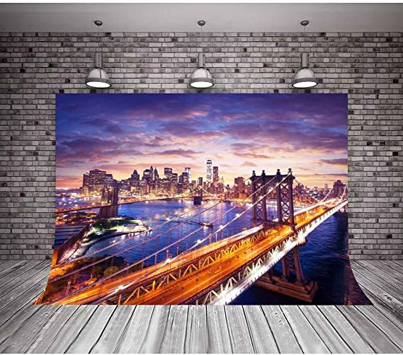 HD Backdrop 7x5ft European White Architecture Background Beautiful Neon Bridge Night Seamless Vinyl Photo Studio Props GYMM094