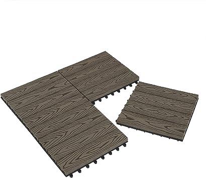Laneetal Baldosas de Madera 30 x 30 cm Suelo de Exiterior WPC Juego de 11 Suelo Terraza Exterior para Jardín 1m² Suelo Madera Jardin Cafe: Amazon.es: Bricolaje y herramientas