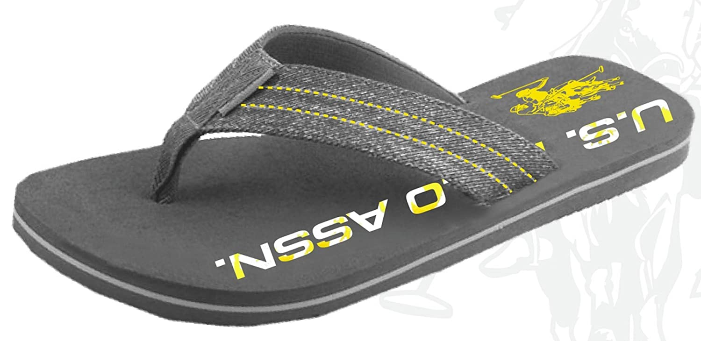 U.S. Polo Assn. Men's Premium Sandals Sporty Denim Athletic Casual Flip Flops Extra Cushioned