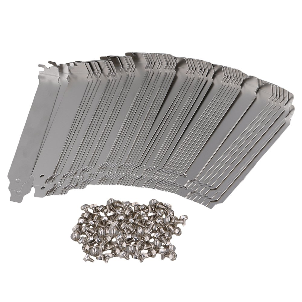 Mxfans 100 PCS Stainless Steel PCI Computer Case Slot Covers with Screws for Desktop