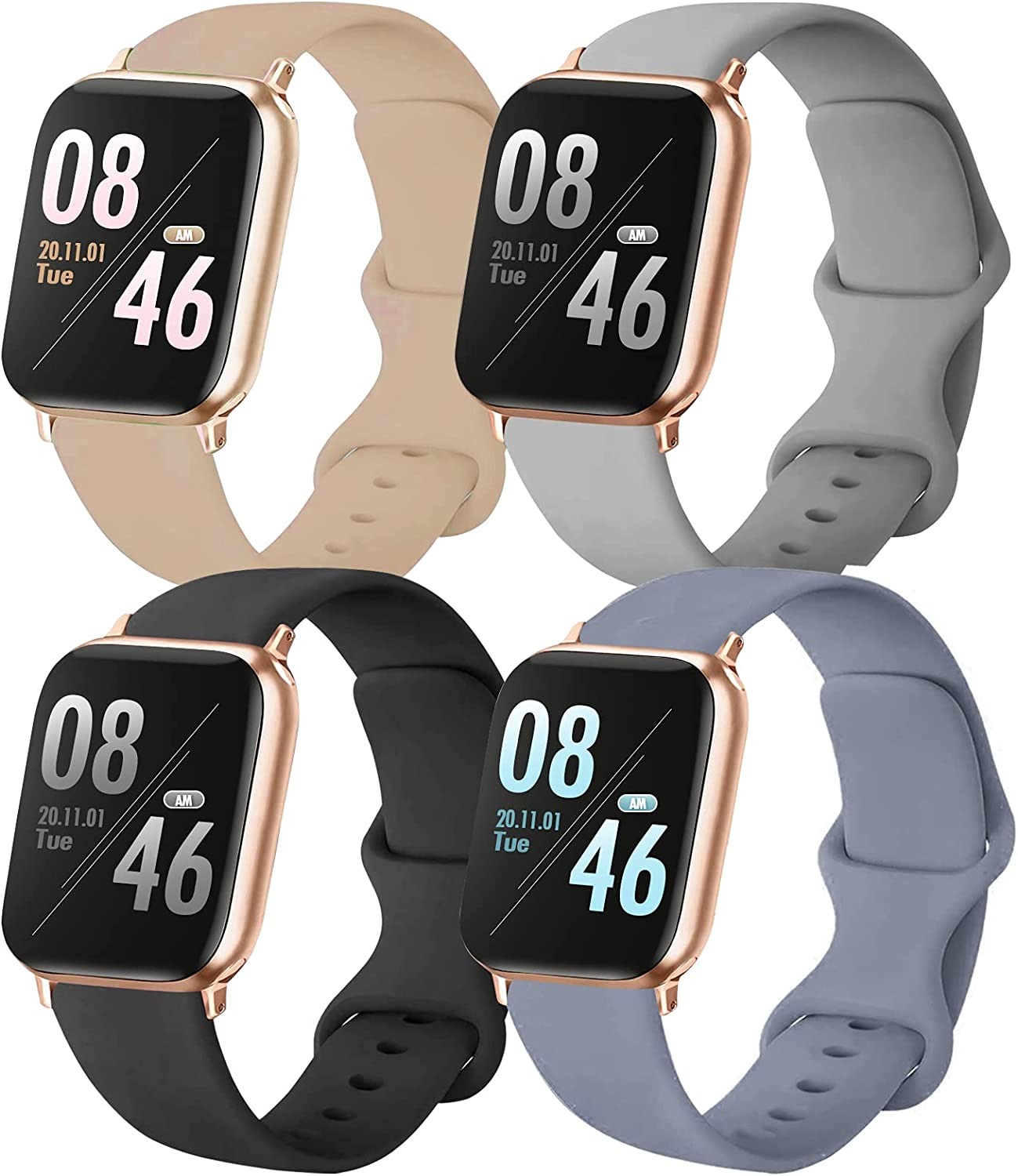 Brigtlaiff Pack 4 Compatible with 38mm 40mm 42mm 44mm Apple Watch Bands, Soft Silicone Replacement Watch Band for iWatch Series SE/6/5/4/3/2/1 (Black/Grey/Walnut/Lavender Gray, 42mm/44mm-M/L)