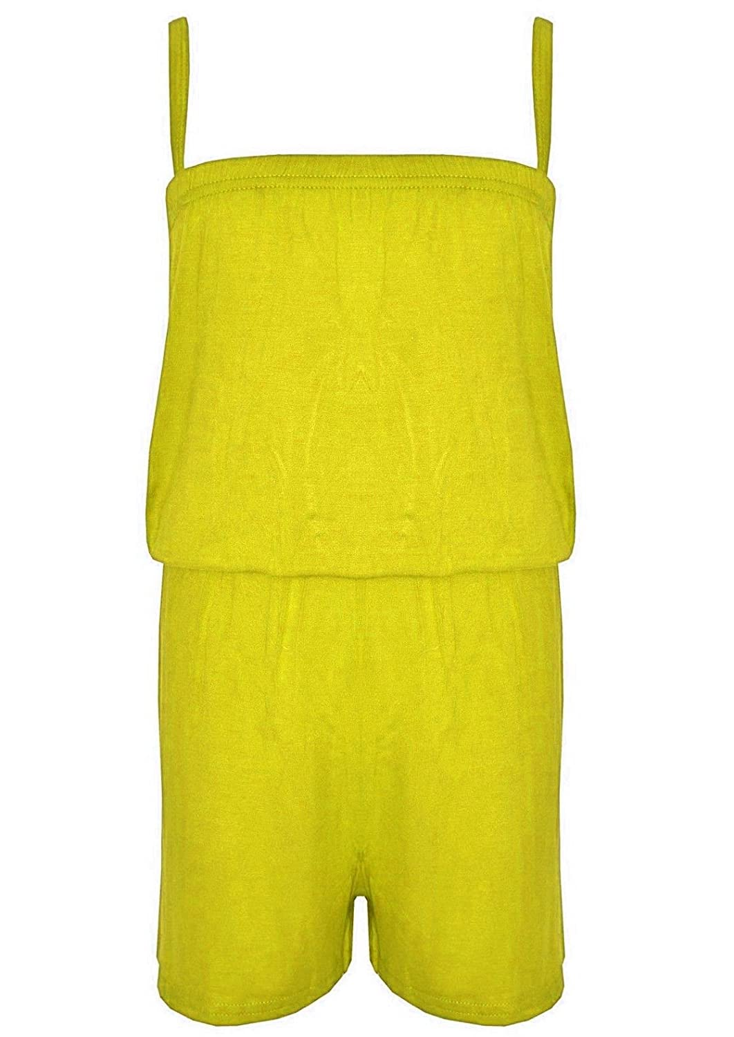 Papaval Girls Jumpsuit Kids Plain Colour Playsuit All in One Summer Dress 2-14 Years