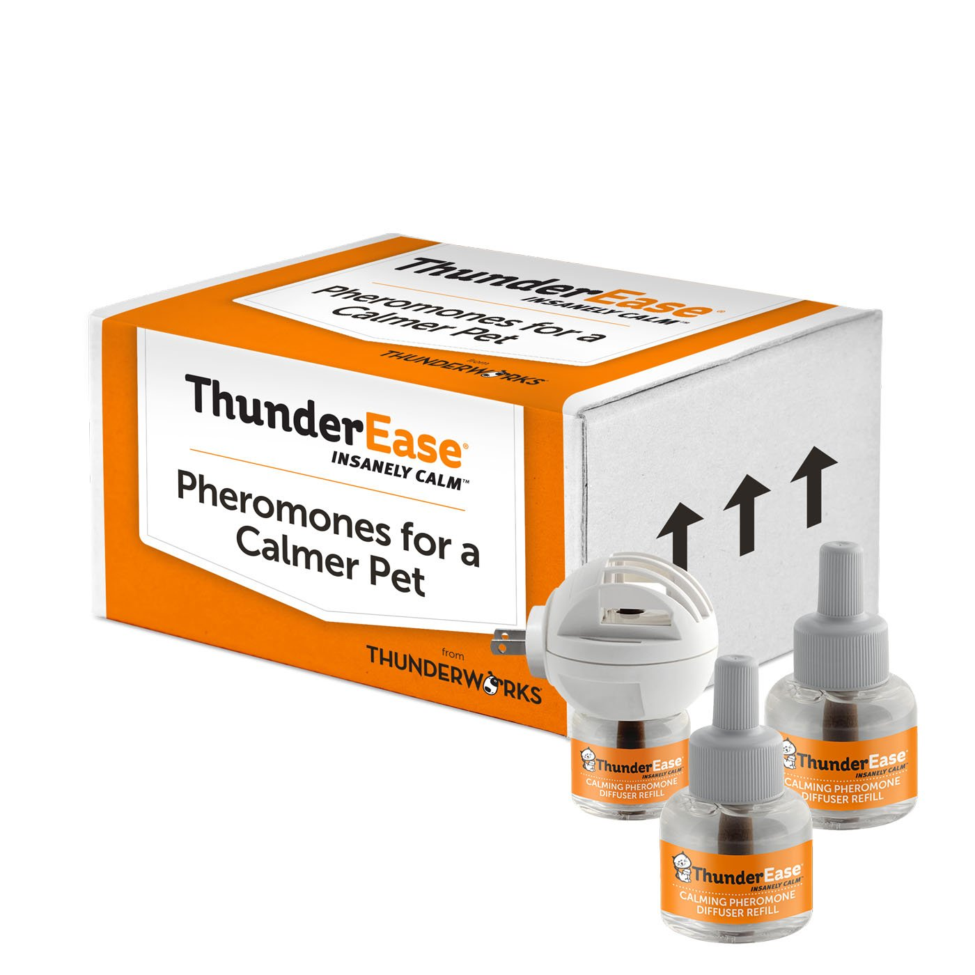 ThunderEase Cat Calming Pheromone Diffuser Kit | Powered by FELIWAY | Reduce Scratching, Urine Spraying, Marking and Anxiety (90 Day Supply) by ThunderEase