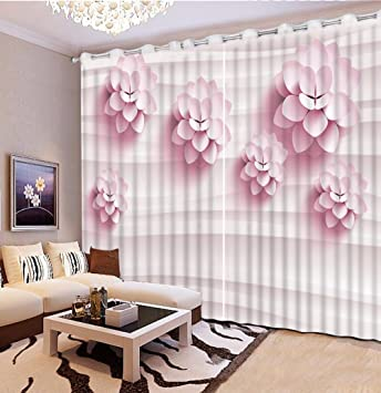 Amazon.com: Sproud Modern Pink Flower Window Curtains For ...